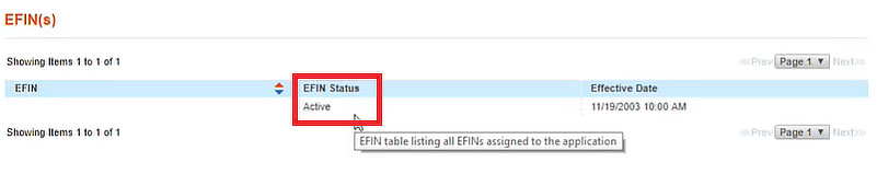 EFIN page